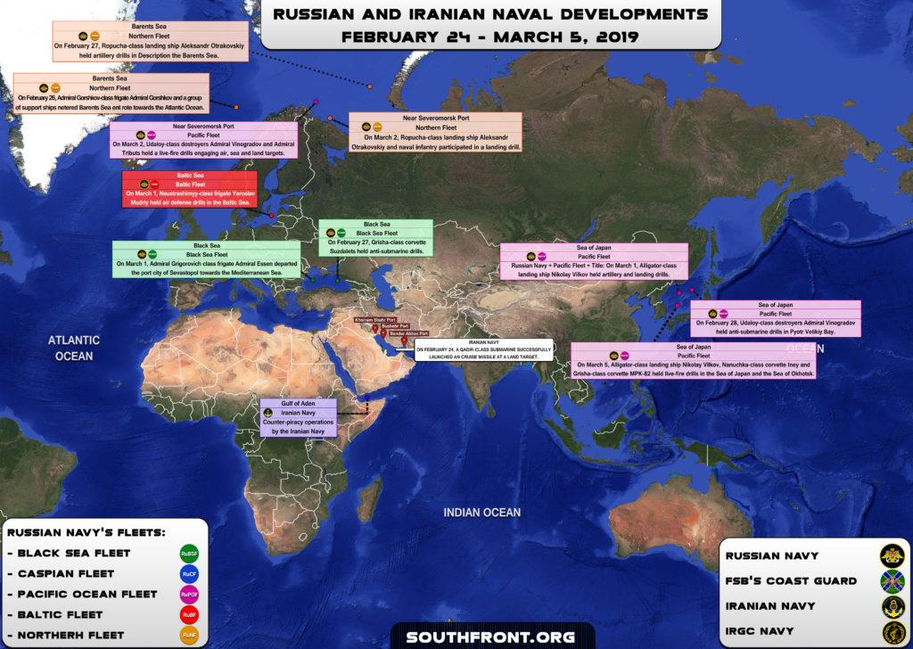 Iranian, Russian Naval Developments February 25-March 5, 2019 (Map Update)