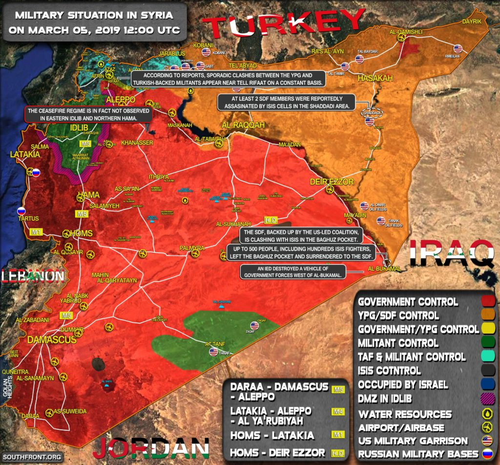 Military Situation In Syria On March 5, 2019 (Map Update)