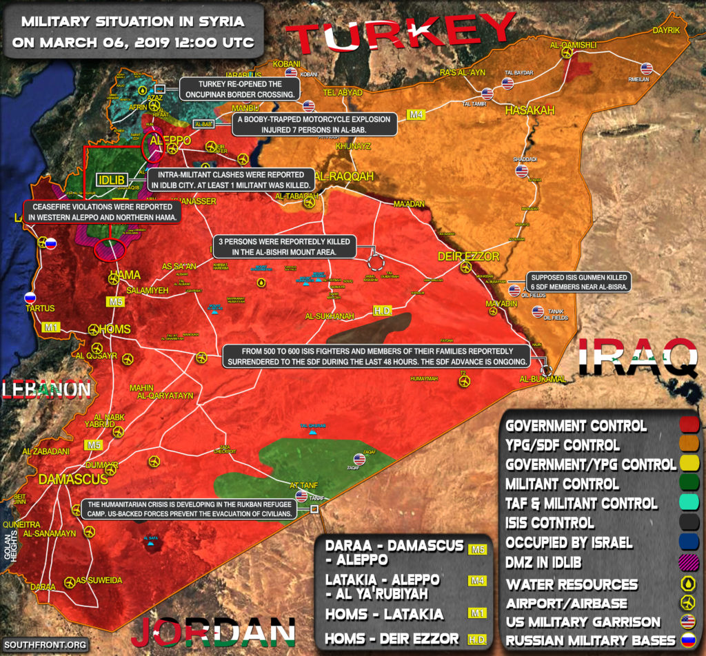 Military Situation In Syria On March 6, 2019 (Map Update)