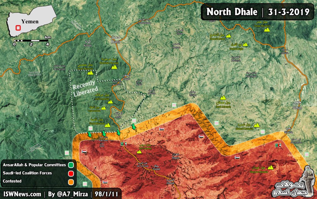 Map Update: Yemeni Fighters Advance On Positions Of Saudi-led Forces In Norhern Dhale