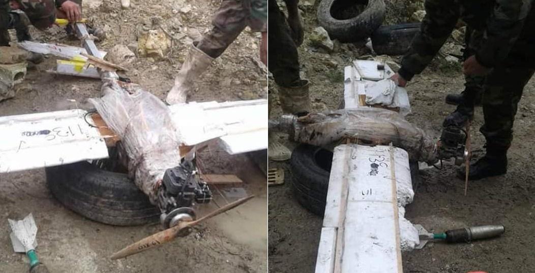 Sýrska armáda zastrelila ozbrojený drone v severnej Lattakii (fotografie)
