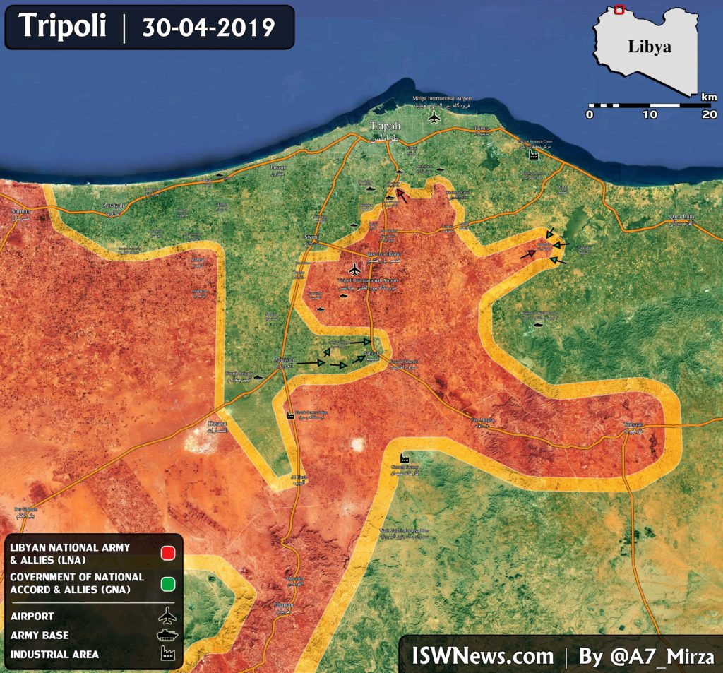Map Update: Pro-GNA Forces Attack Liyan National Army Positions South Of Tripoli Airport
