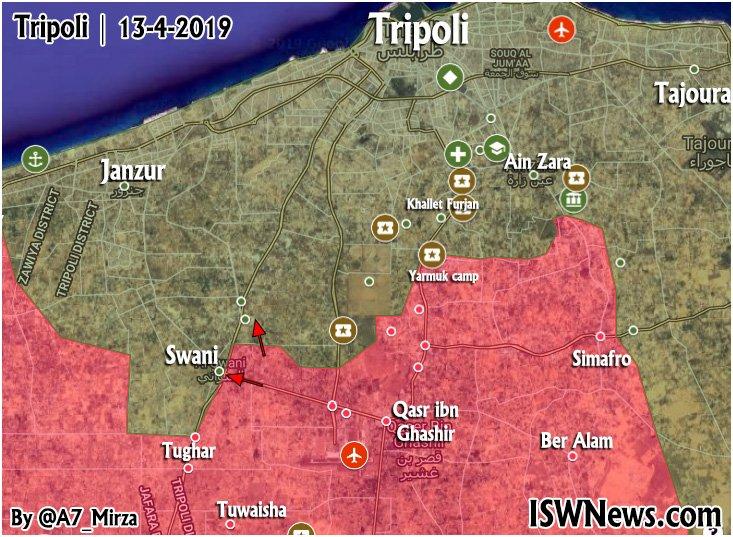 Map Update: Pokrok líbyjskej národnej armády Advance v krajine Tripolis