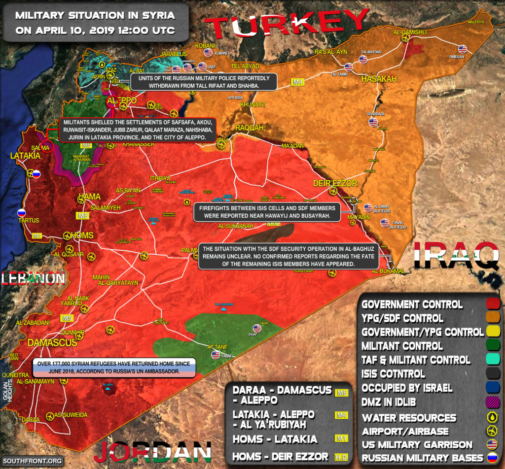 Military Situation In Syria On April 10, 2019 (Map Update)
