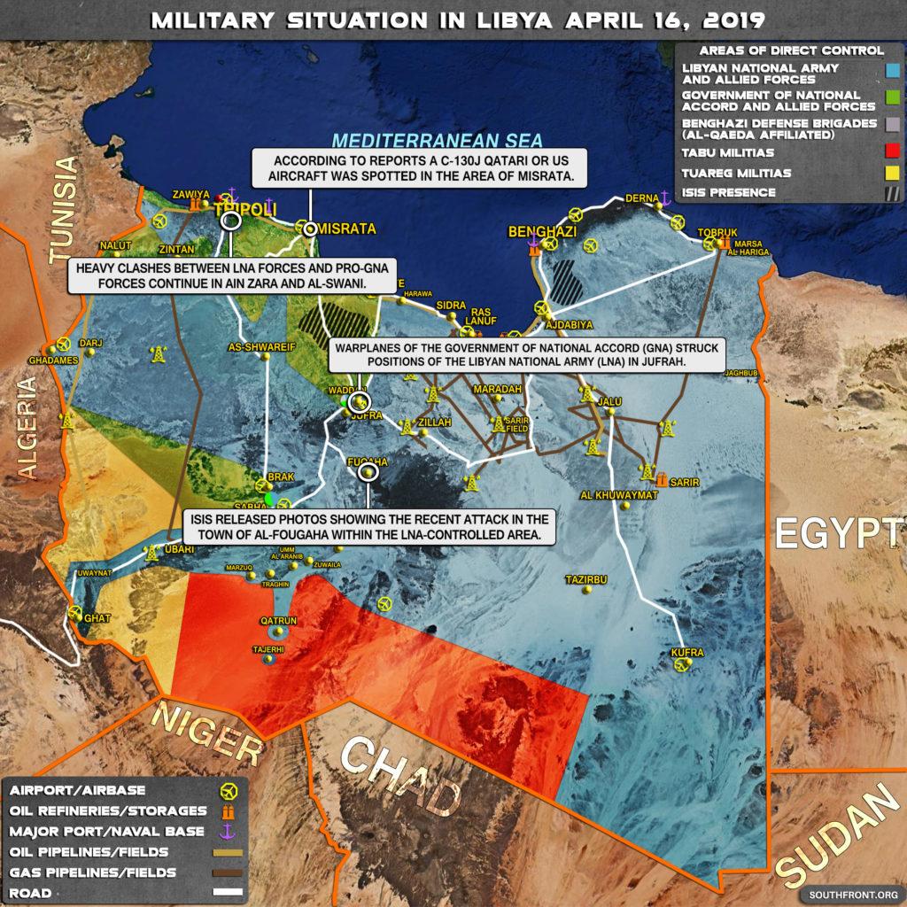 Vojenská situácia v Líbyi 16. apríla 2019 (Aktualizácia mapy)