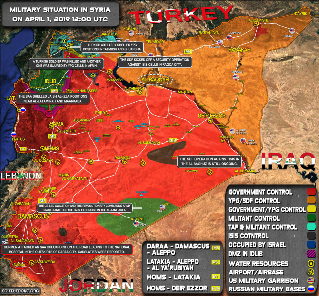 Military Situation In Syria On April 1, 2019 (Map Update)