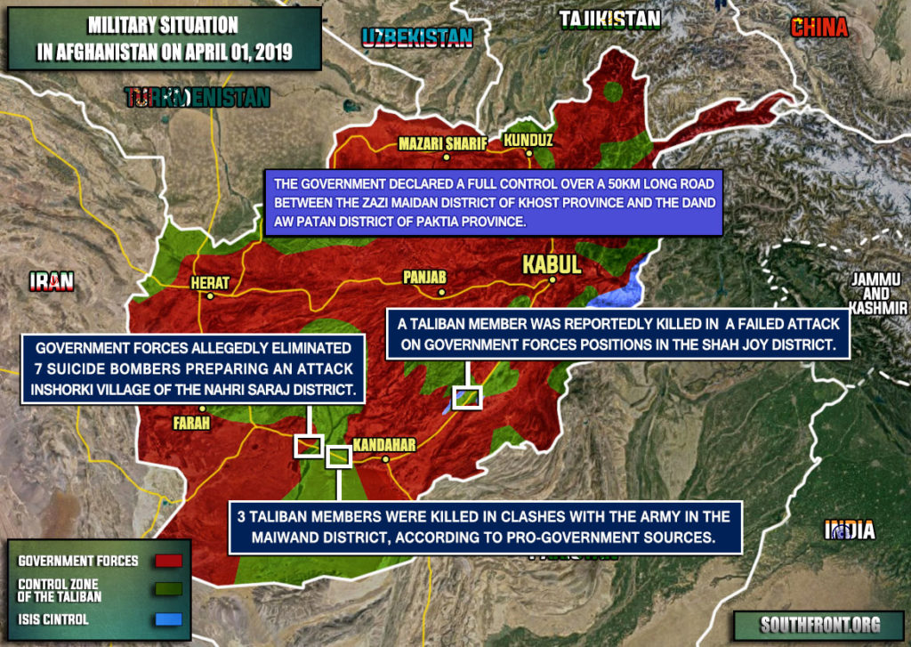 Military Situation In Afghanistan On April 1, 2019 (Map Update)