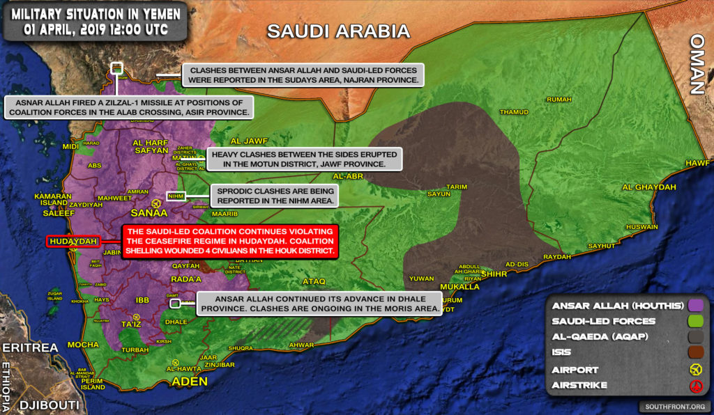 Military Situation In Yemen On April 1, 2019 (Map Update)