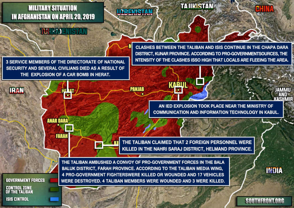 Military Situation In Afghanistan On April 20, 2019 (Map Update)