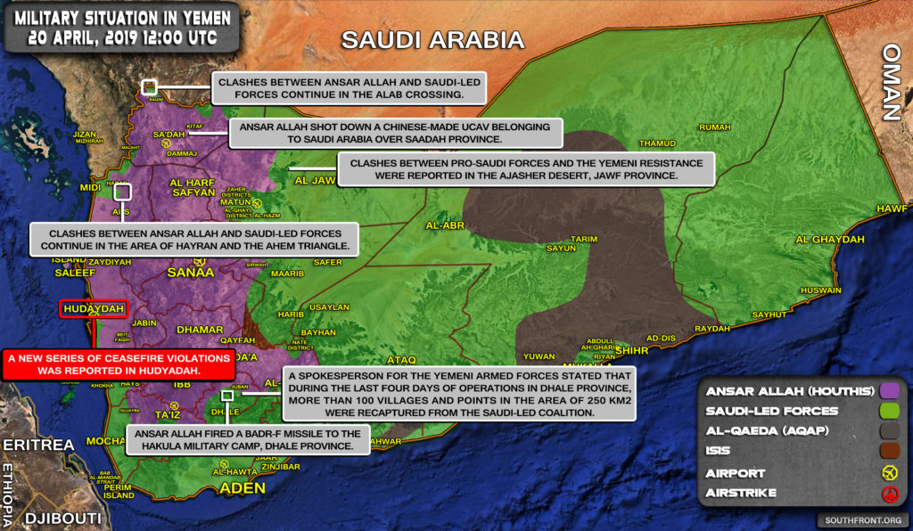 Military Situation In Yemen On April 20, 2019 (Map Update)