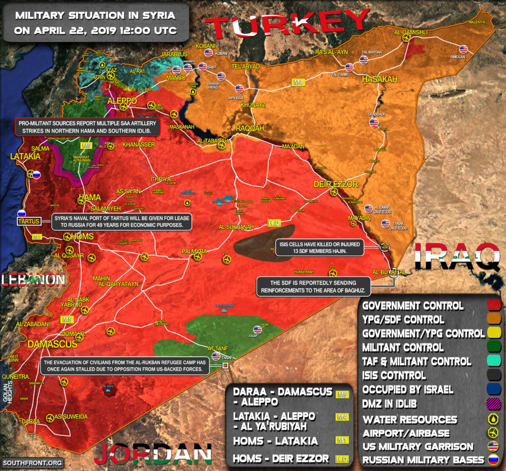 Military Situation In Syria On April 22, 2019 (Map Update)