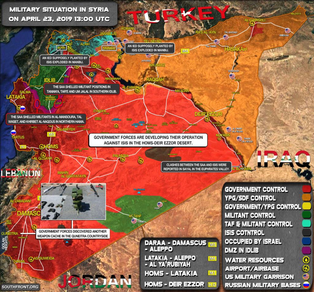 Vojenská Situácia V Sýrii 23. Apríla 2019 (Aktualizácia Máp)