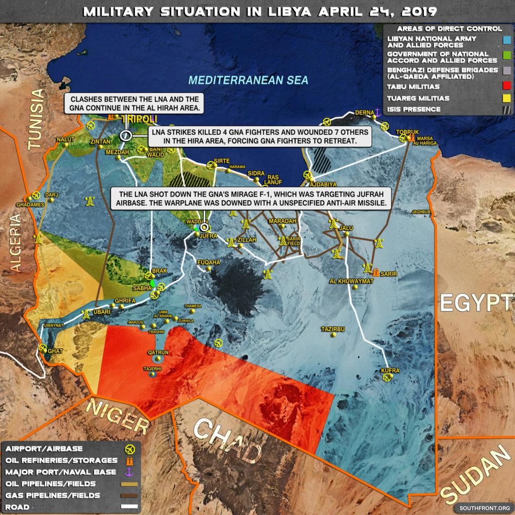 Vojenská situácia v Líbyi 24. apríla 2019 (Aktualizácia mapy)