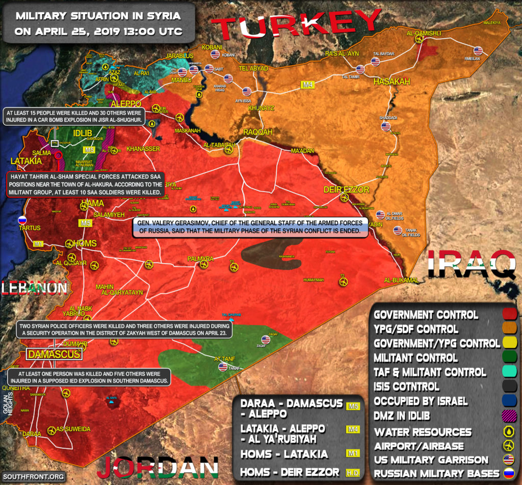Military Situation In Syria On April 25, 2019 (Map Update)
