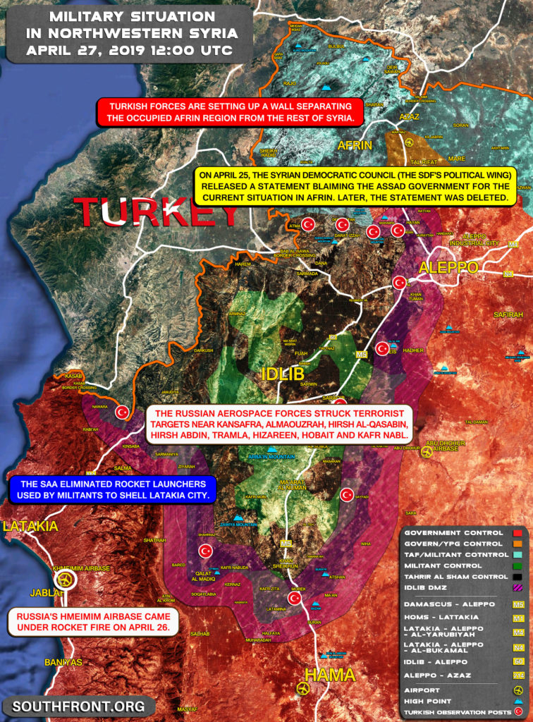 Map Update: Tensions Grow In Idlib De-Escalation Zone After Recent Attacks On Russian Airbase In Latakia