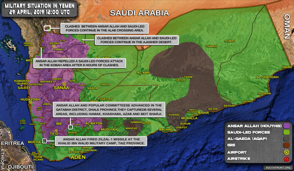 Military Situation In Yemen On April 29, 2019 (Map Update)