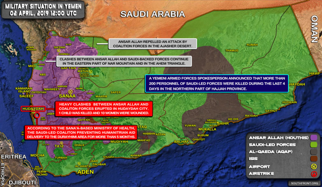 Military Situation In Yemen On April 2, 2019 (Map Update)