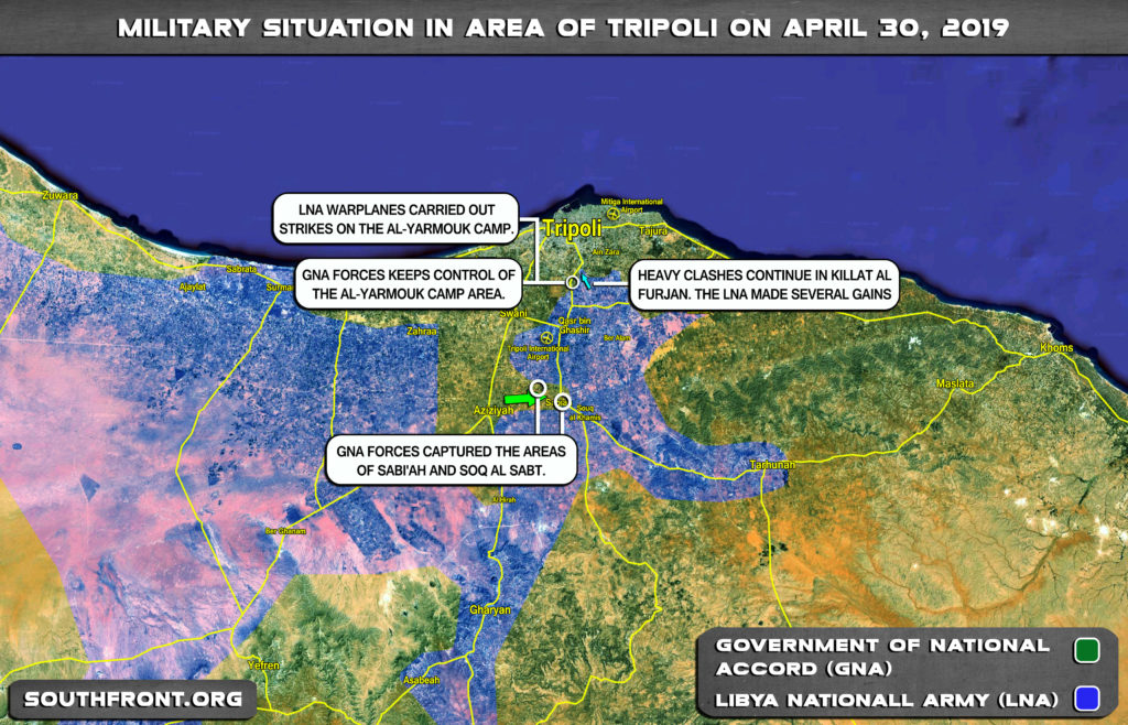 Military Situation In Area Of Tripoli On April 30, 2019 (Libya Map Update)