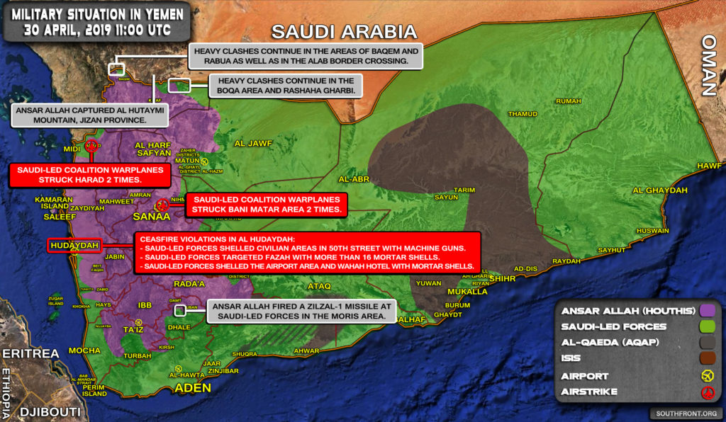 Military Situation In Yemen On April 30, 2019 (Map Update)