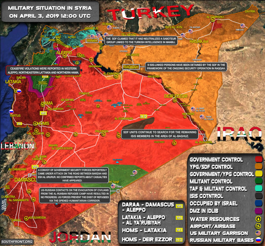 Military Situation In Syria On April 3, 2019 (Map Update)