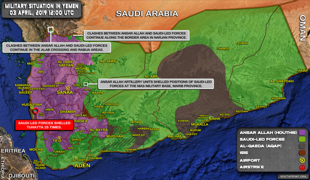Military Situation In Yemen On April 3, 2019 (Map Update)