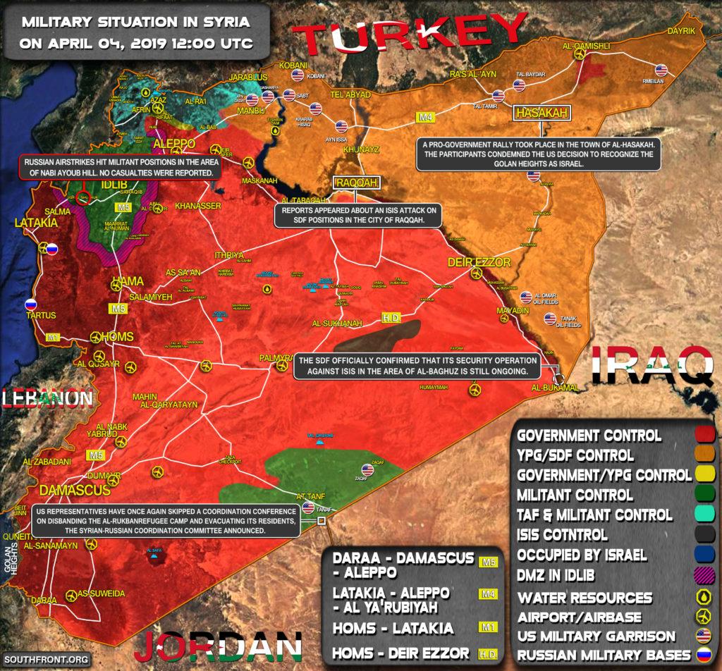 Vojenská Situácia V Sýrii 4. Apríla 2019 (Aktualizácia Máp)