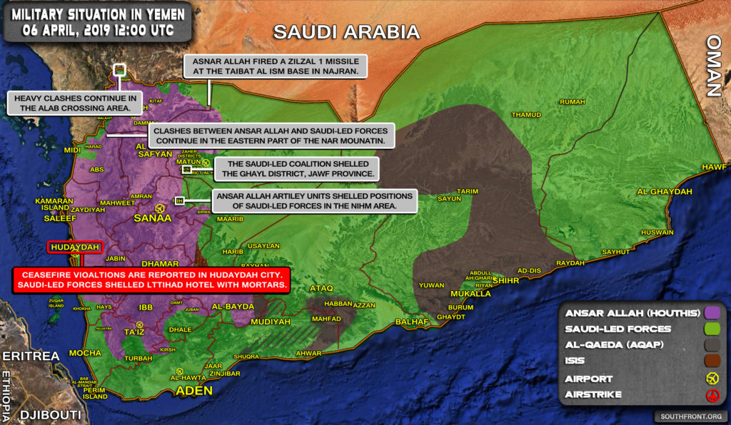 Military Situation In Yemen On April 6, 2019 (Map Update)