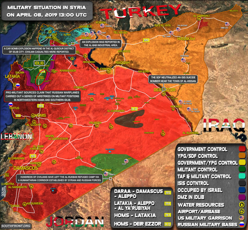 Military Situation In Syria On April 8, 2019 (Map Update)