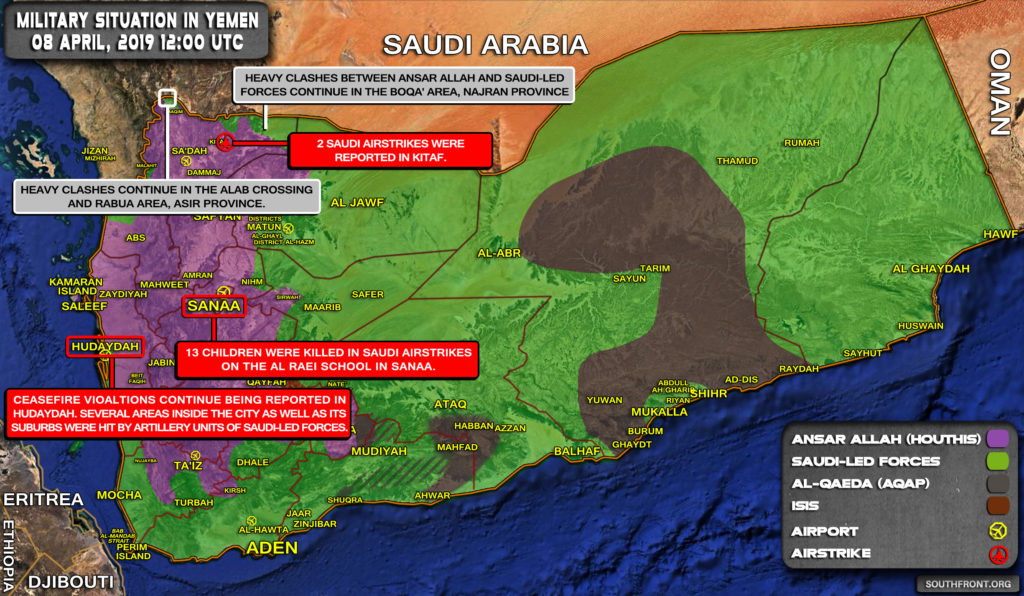 Military Situation In Yemen On April 8, 2019 (Map Update)