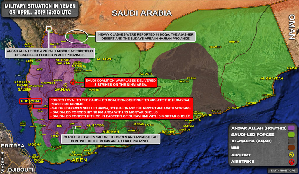 Military Situation In Yemen On April 9, 2019 (Map Update)