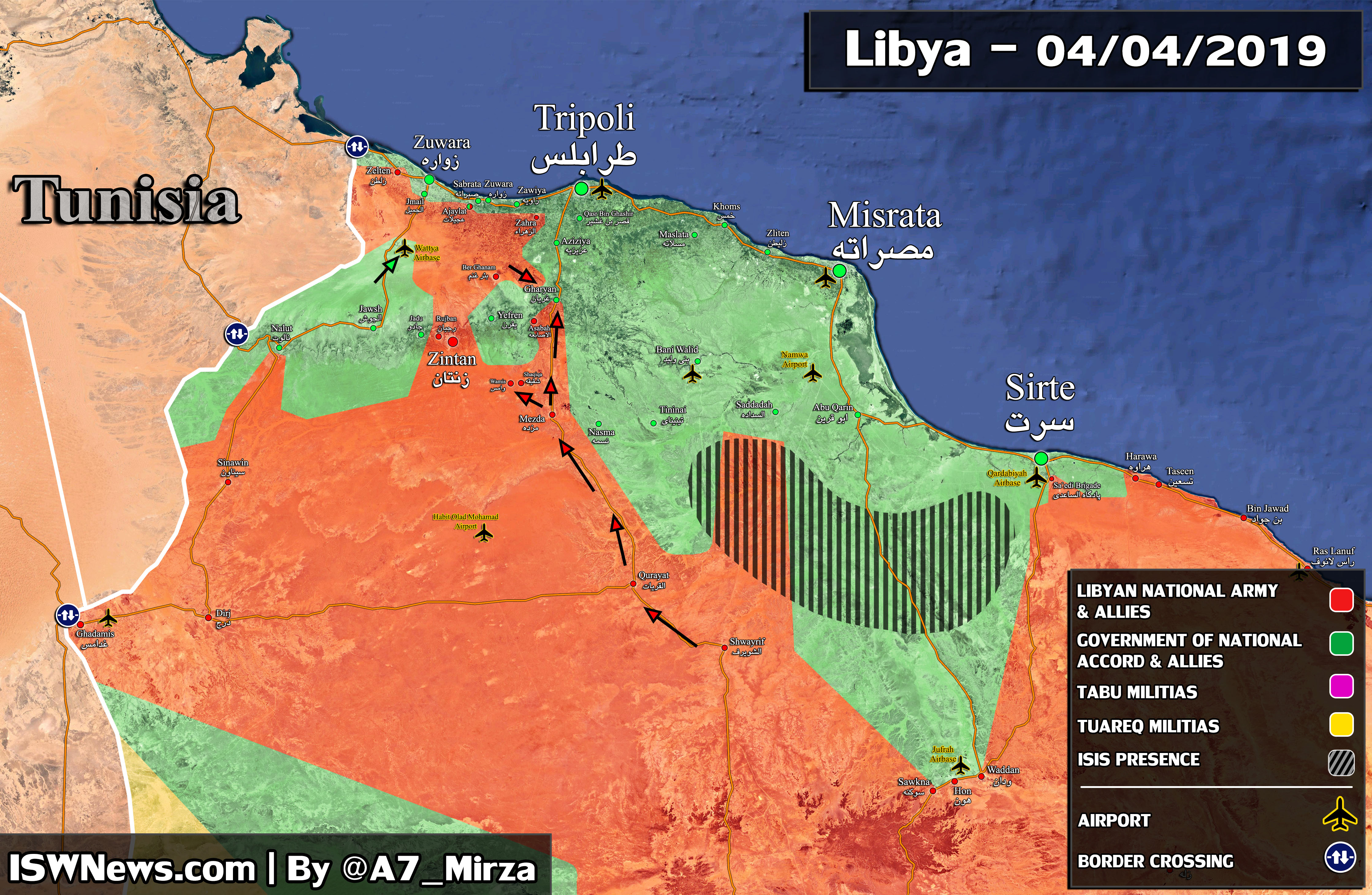Libyan National Army Captures Key Town, 40Km South Of Tripoli (Map)