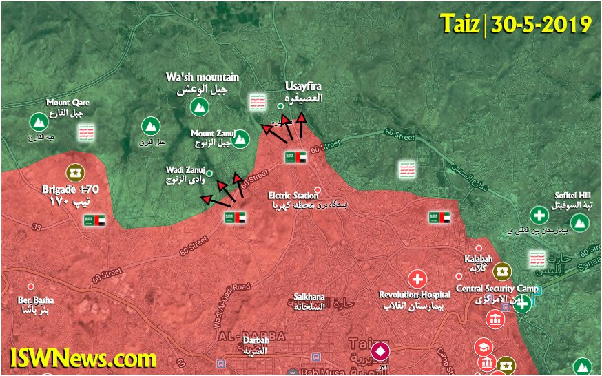 Map Update: Saudi-led Forces Attack Ansar Allah Positions Near Taiz City