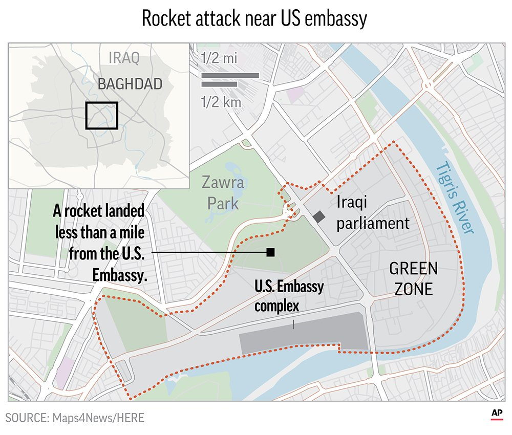 Rocket Hits Near Empty US Embassy in Baghdad, US Blames Iran