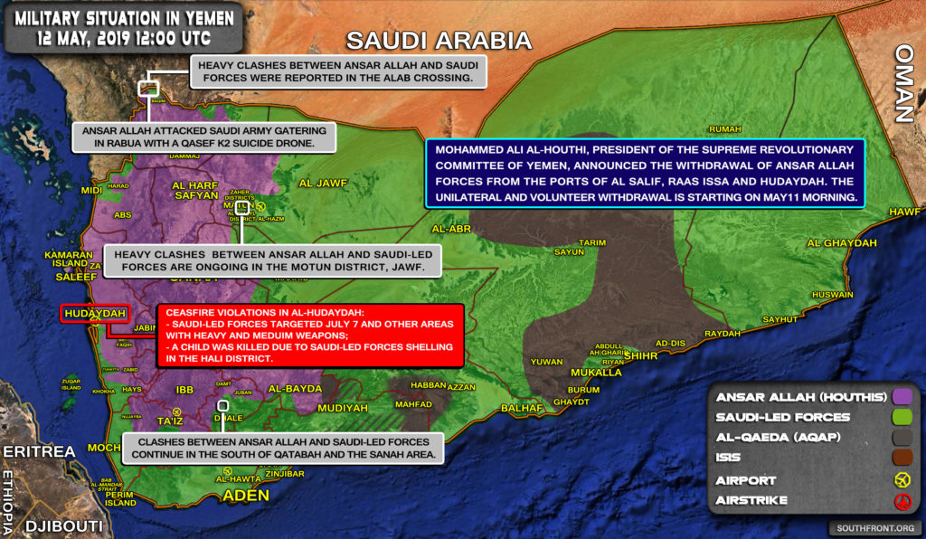 Military Situation In Yemen On May 12, 2019 (Map Update)