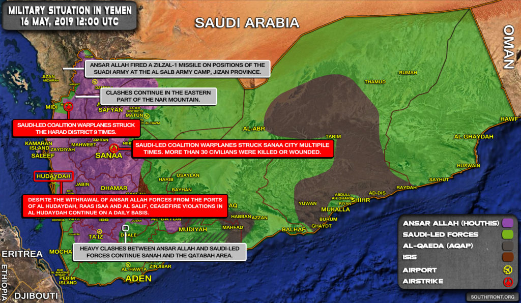 Military Situation In Yemen On May 16, 2019 (Map Update)
