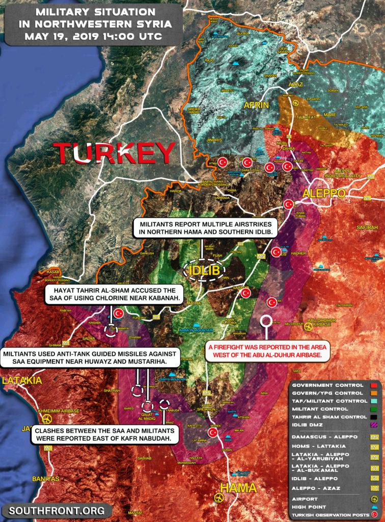 Vojenská Situácia V Severozápadnej Sýrii Mája 19, 2019 (Aktualizácia Máp)