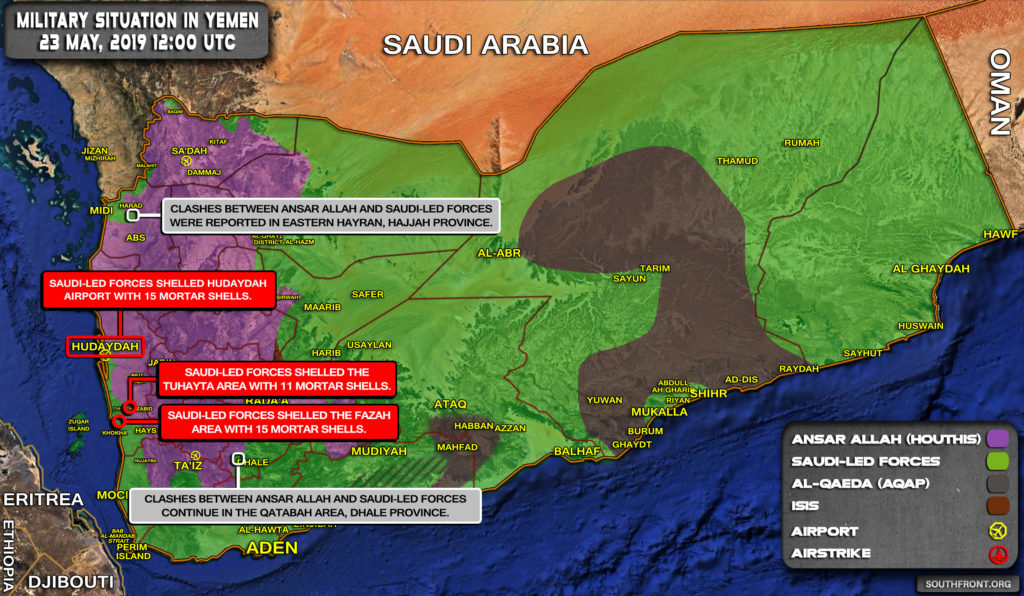 Military Situation In Yemen On May 23, 2019 (Map Update)