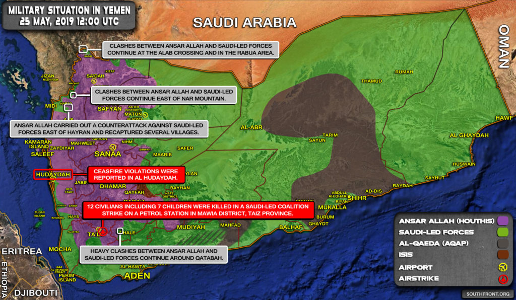 Military Situation In Yemen On May 25, 2019 (Map Update)