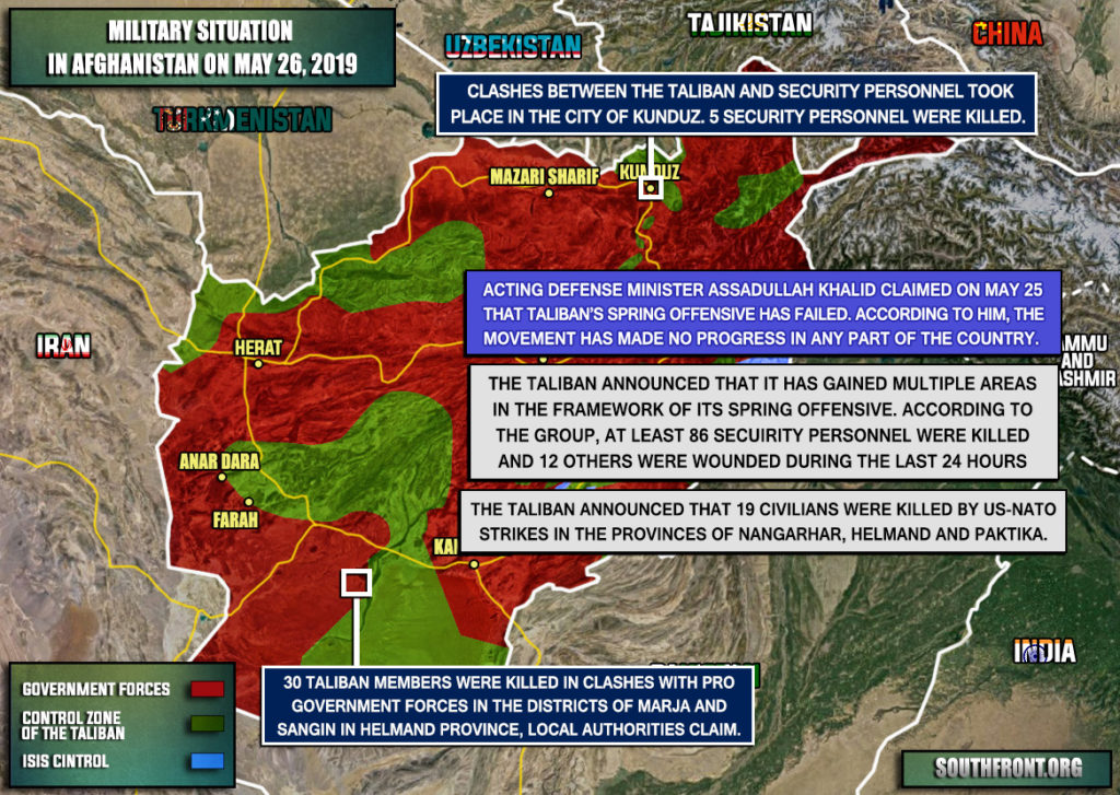 Military Situation In Afghanistan On May 26, 2019 (Map Update)
