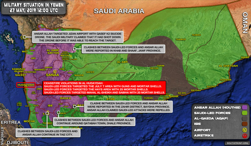 Military Situation In Yemen On May 27, 2019 (Map Update)