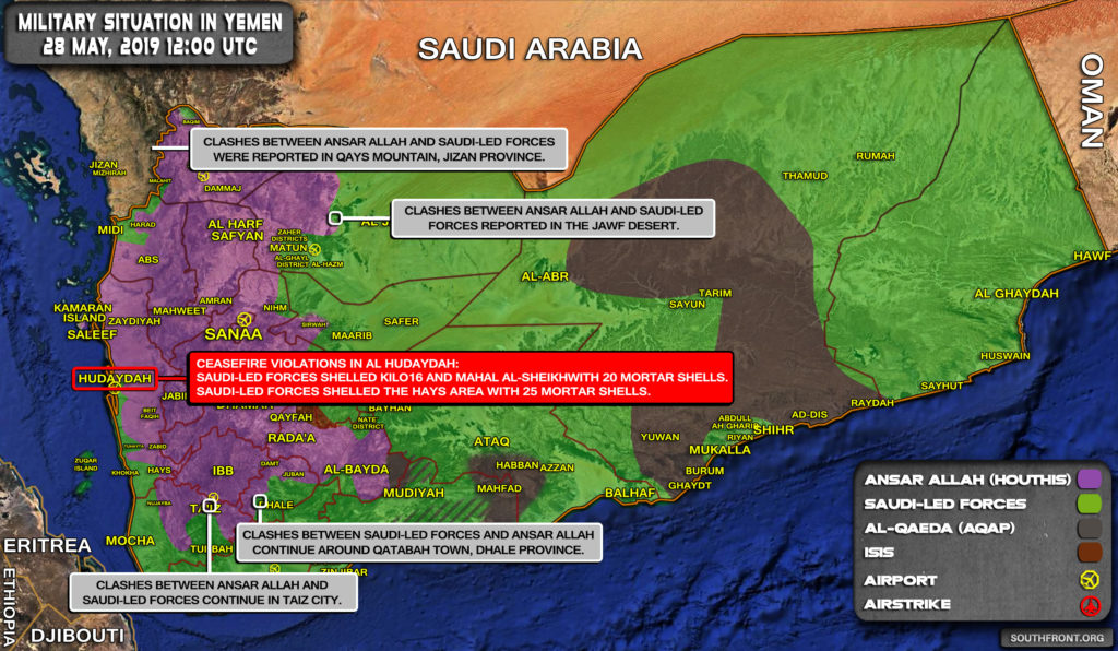 Military Situation In Yemen On May 28, 2019 (Map Update)