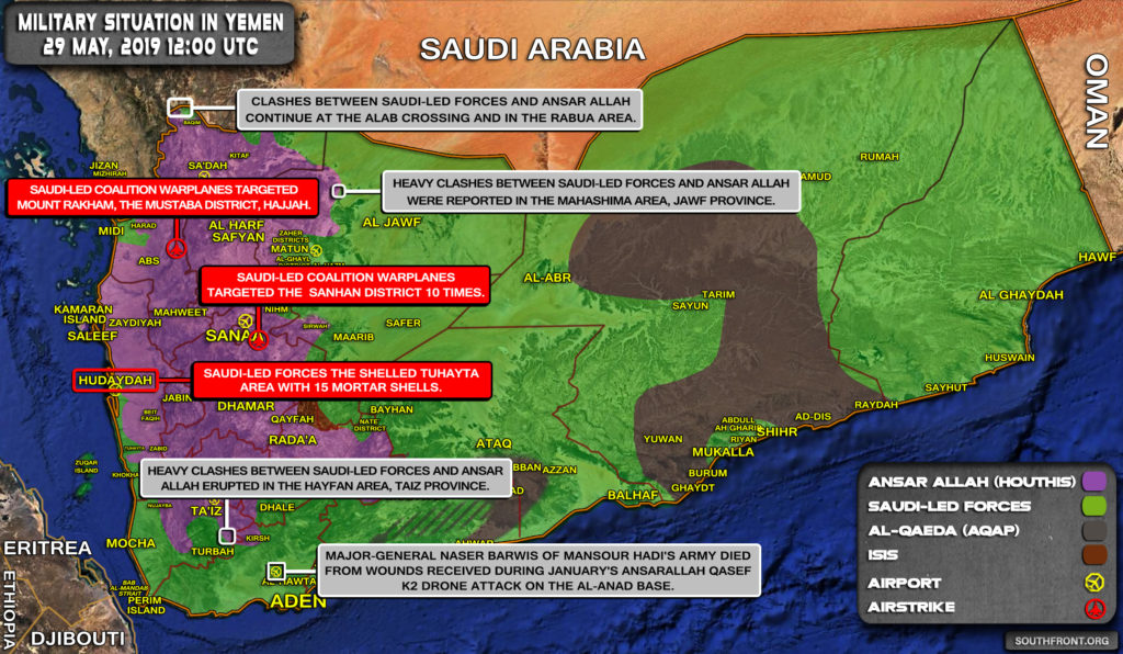 Military Situation In Yemen On May 29, 2019 (Map Update)