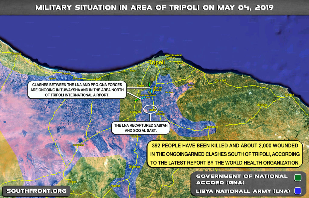 Military Situation In Area Of Libya's Tripoli On May 4, 2019 (Map Update)