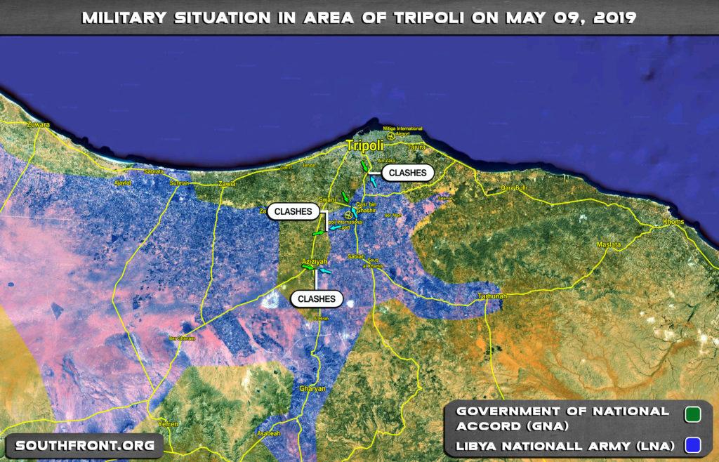 Vojenská situácia v oblasti líbyjského Tripolisu 9. mája 2019 (mapa)