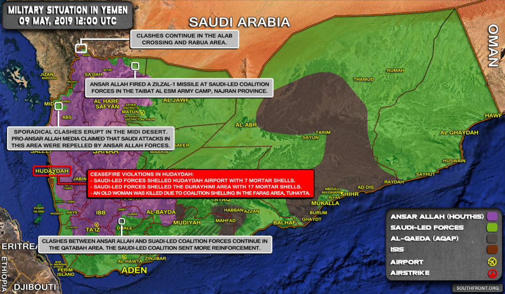 Military Situation In Yemen On May 9, 2019 (Map Update)
