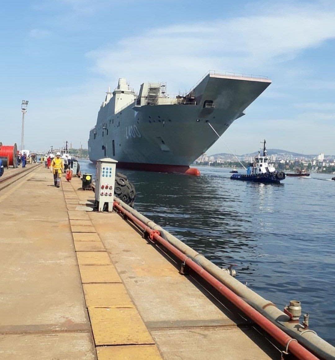 Turkey Floats Its Indigenous Amphibious Landing Ship TCG Anadolu L400