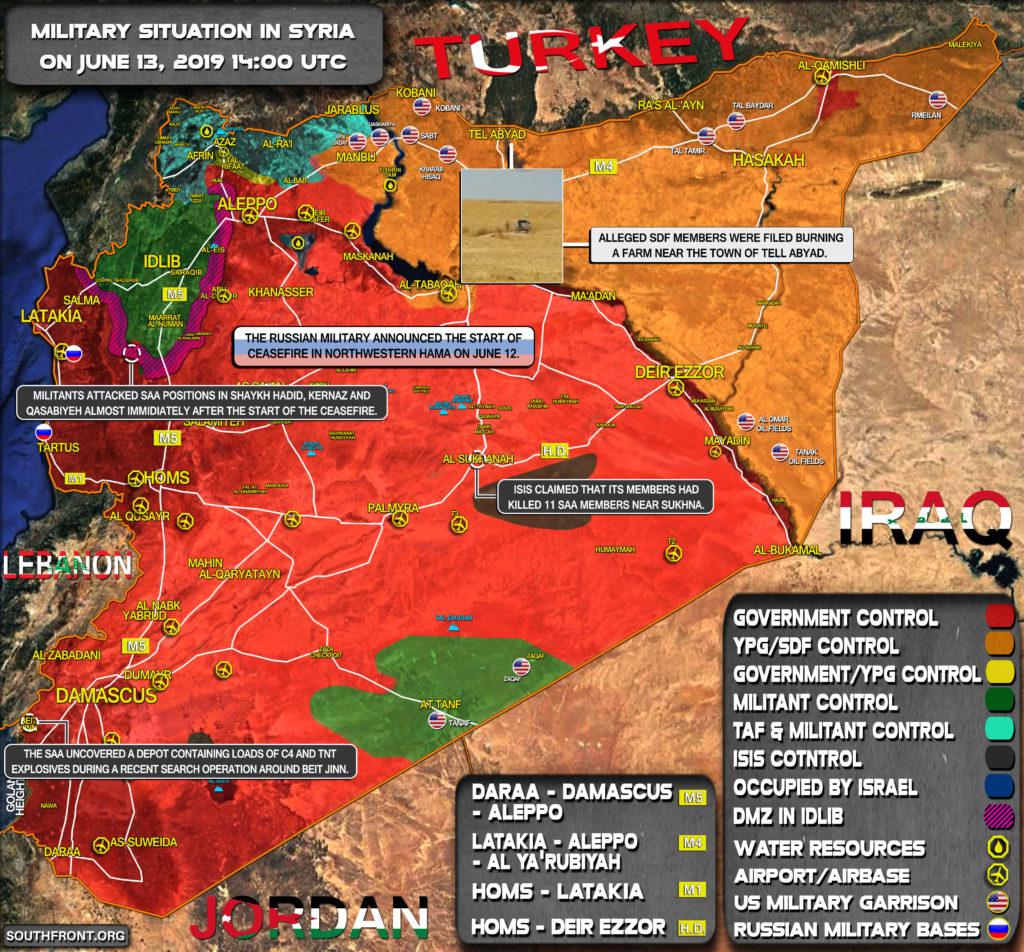 Vojenská Situácia V Sýrii 13. Júna 2019 (Aktualizácia Máp)