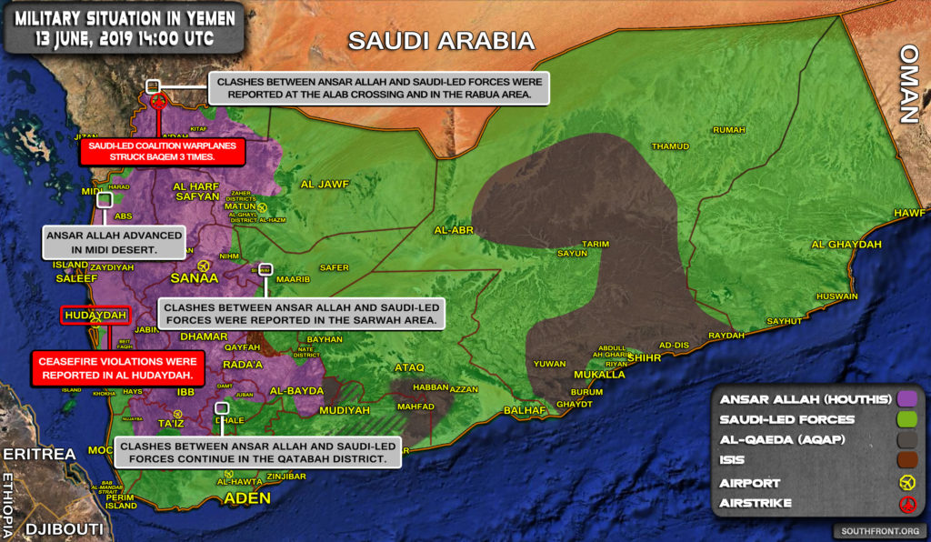 Military Situation In Yemen On June 13, 2019 (Map Update)