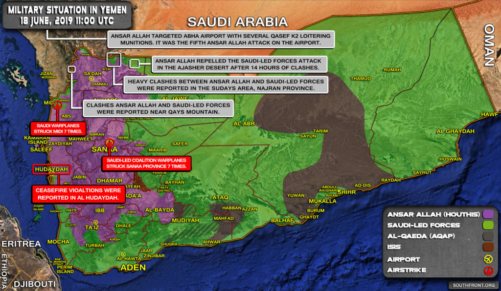 Military Situation In Yemen On June 18, 2019 (Map Update)