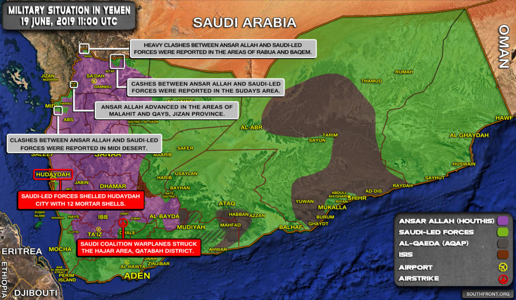 Military Situation In Yemen On June 19, 2019 (Map Update)